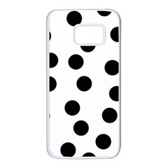 Black And White Dalmatian Spot Pattern Samsung Galaxy S7 White Seamless Case by TailWags