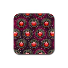 Abstract Circle Gem Pattern Rubber Square Coaster (4 Pack)  by Nexatart