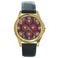 Abstract Circle Gem Pattern Round Gold Metal Watch