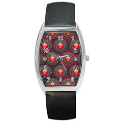 Abstract Circle Gem Pattern Barrel Style Metal Watch