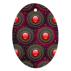 Abstract Circle Gem Pattern Oval Ornament (two Sides) by Nexatart