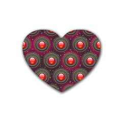Abstract Circle Gem Pattern Rubber Coaster (heart)  by Nexatart