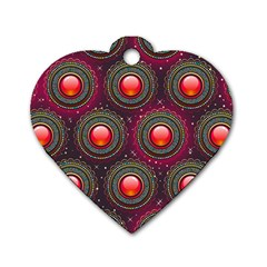 Abstract Circle Gem Pattern Dog Tag Heart (one Side)