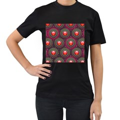Abstract Circle Gem Pattern Women s T Shirt (black)