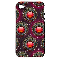 Abstract Circle Gem Pattern Apple Iphone 4/4s Hardshell Case (pc+silicone)