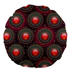 Abstract Circle Gem Pattern Large 18  Premium Flano Round Cushions by Nexatart