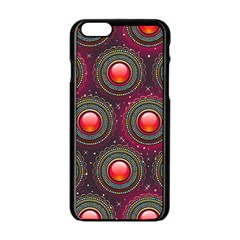 Abstract Circle Gem Pattern Apple Iphone 6/6s Black Enamel Case by Nexatart