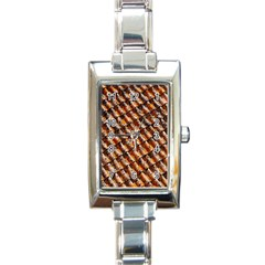 Dirty Pattern Roof Texture Rectangle Italian Charm Watch