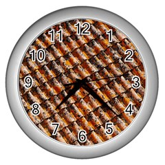 Dirty Pattern Roof Texture Wall Clocks (silver)  by Nexatart