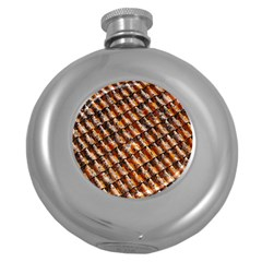 Dirty Pattern Roof Texture Round Hip Flask (5 Oz)