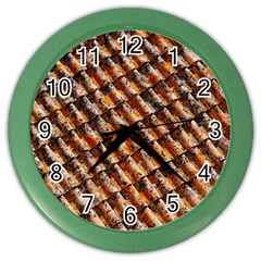 Dirty Pattern Roof Texture Color Wall Clocks by Nexatart