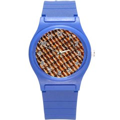 Dirty Pattern Roof Texture Round Plastic Sport Watch (s) by Nexatart
