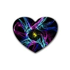 Abstract Art Color Design Lines Rubber Coaster (heart)  by Nexatart