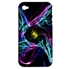 Abstract Art Color Design Lines Apple Iphone 4/4s Hardshell Case (pc+silicone) by Nexatart