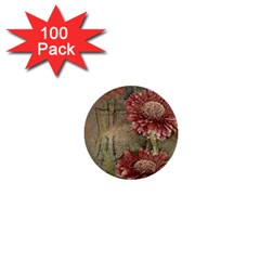 Flowers Plant Red Drawing Art 1  Mini Buttons (100 Pack)