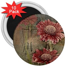 Flowers Plant Red Drawing Art 3  Magnets (10 Pack)