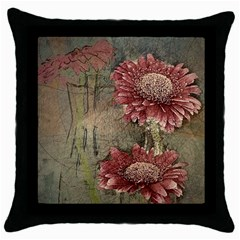 Flowers Plant Red Drawing Art Throw Pillow Case (black)