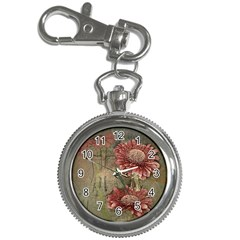 Flowers Plant Red Drawing Art Key Chain Watches