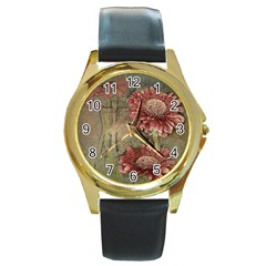 Flowers Plant Red Drawing Art Round Gold Metal Watch