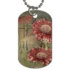 Flowers Plant Red Drawing Art Dog Tag (one Side) by Nexatart
