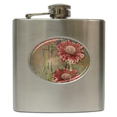 Flowers Plant Red Drawing Art Hip Flask (6 Oz) by Nexatart