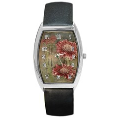 Flowers Plant Red Drawing Art Barrel Style Metal Watch