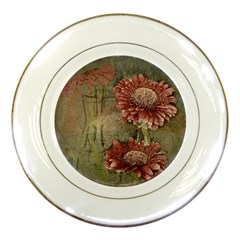 Flowers Plant Red Drawing Art Porcelain Plates by Nexatart