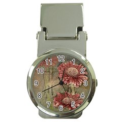 Flowers Plant Red Drawing Art Money Clip Watches by Nexatart
