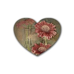 Flowers Plant Red Drawing Art Rubber Coaster (heart)  by Nexatart