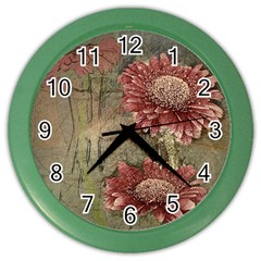 Flowers Plant Red Drawing Art Color Wall Clocks