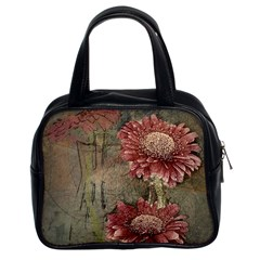 Flowers Plant Red Drawing Art Classic Handbags (2 Sides) by Nexatart