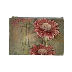 Flowers Plant Red Drawing Art Cosmetic Bag (large)