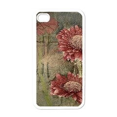 Flowers Plant Red Drawing Art Apple Iphone 4 Case (white) by Nexatart