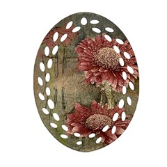 Flowers Plant Red Drawing Art Oval Filigree Ornament (two Sides) by Nexatart