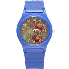 Flowers Plant Red Drawing Art Round Plastic Sport Watch (s) by Nexatart