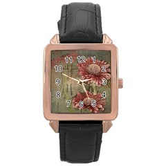 Flowers Plant Red Drawing Art Rose Gold Leather Watch  by Nexatart