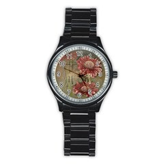 Flowers Plant Red Drawing Art Stainless Steel Round Watch