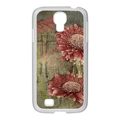 Flowers Plant Red Drawing Art Samsung Galaxy S4 I9500/ I9505 Case (white) by Nexatart