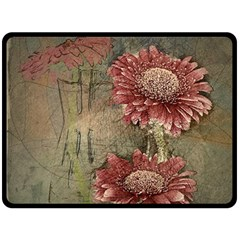 Flowers Plant Red Drawing Art Double Sided Fleece Blanket (large)  by Nexatart