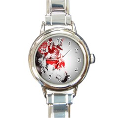 Red Black Wolf Stamp Background Round Italian Charm Watch by Nexatart