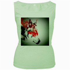 Red Black Wolf Stamp Background Women s Green Tank Top by Nexatart
