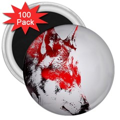 Red Black Wolf Stamp Background 3  Magnets (100 Pack)