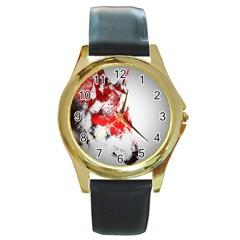 Red Black Wolf Stamp Background Round Gold Metal Watch by Nexatart