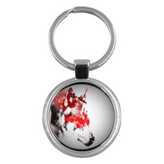 Red Black Wolf Stamp Background Key Chains (round)