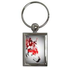 Red Black Wolf Stamp Background Key Chains (rectangle)