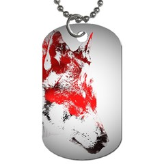 Red Black Wolf Stamp Background Dog Tag (one Side)