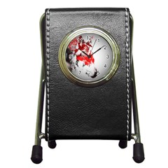 Red Black Wolf Stamp Background Pen Holder Desk Clocks by Nexatart