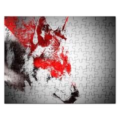 Red Black Wolf Stamp Background Rectangular Jigsaw Puzzl