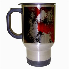 Red Black Wolf Stamp Background Travel Mug (silver Gray) by Nexatart