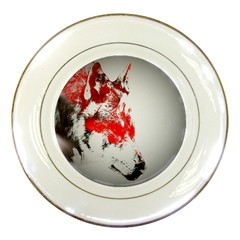 Red Black Wolf Stamp Background Porcelain Plates by Nexatart